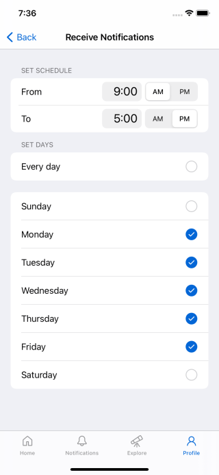 Screenshot of push notification schedule settings for GitHub for iOS