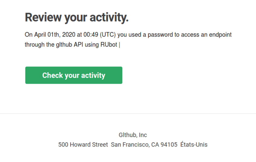 A phishing message stating that a user accessed an endpoint through the GitHub API tries to lure users into clicking a malicious link to check their recent activity.