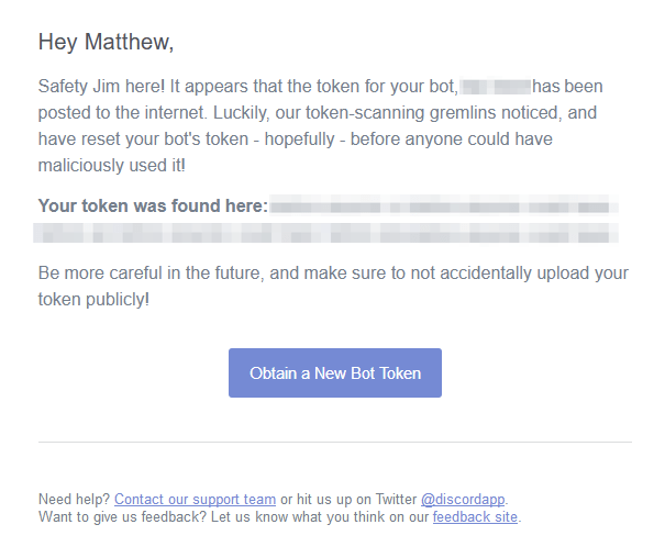 A notification email about a user's Discord token