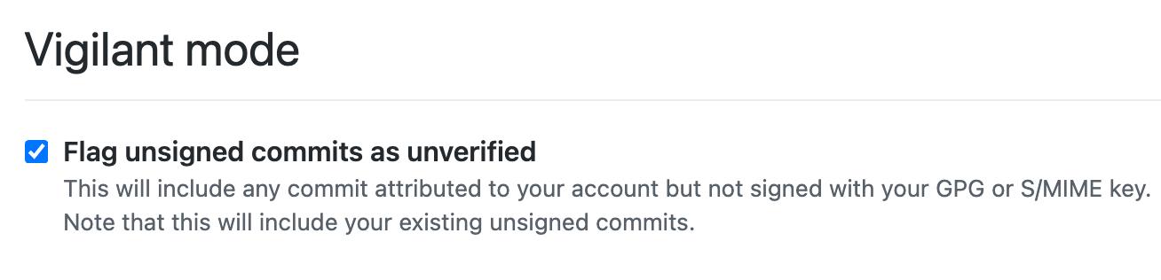 Vigilant mode in GitHub.com personal account settings