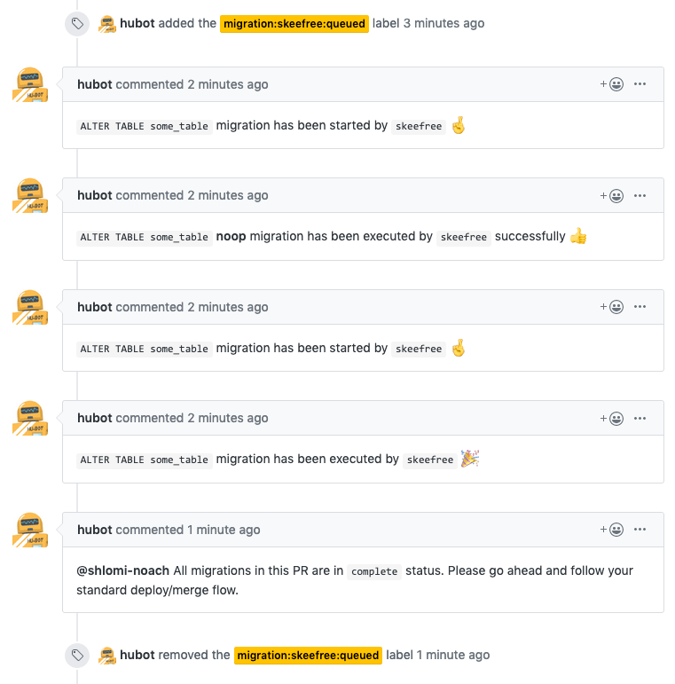 as skeefree runs the migrations, it adds comments on the Pull Request page to indicate its progress. When all migrations are complete, skeefree comments as much, again on the pull request page.