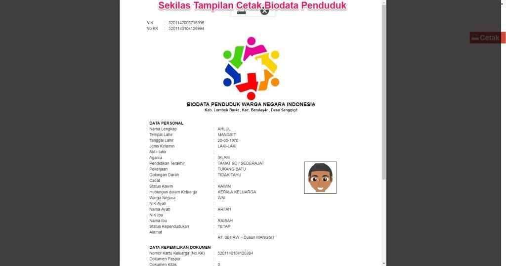 cetak biodata