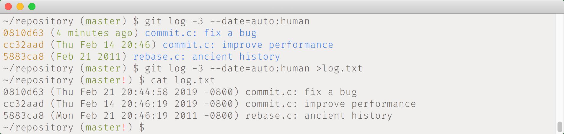 git log --date=auto:human example