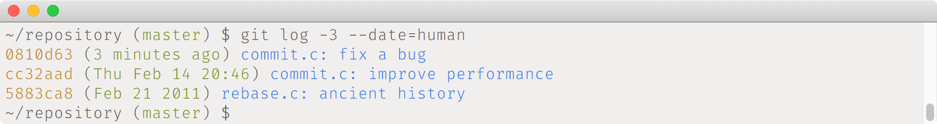 git log --date=human example