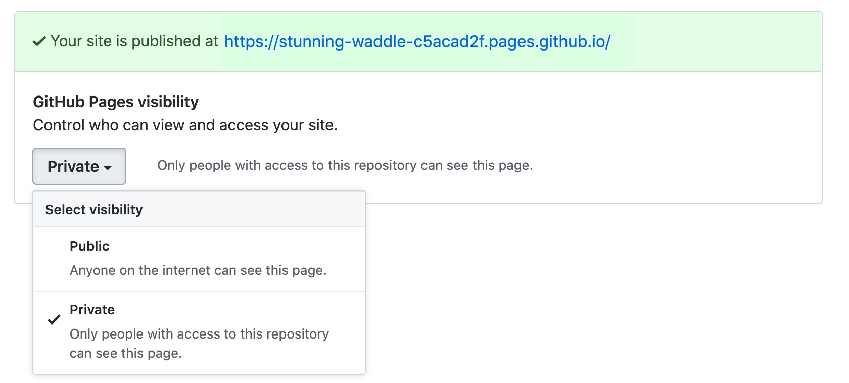 Private publishing for GitHub Pages