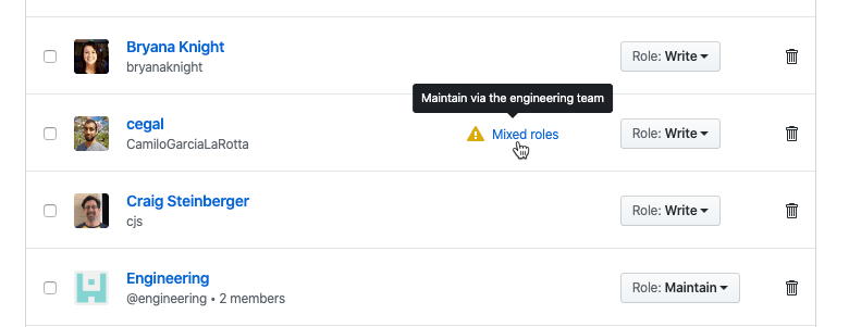 An example of a mixed roles warning for a user on the Manage Access page.