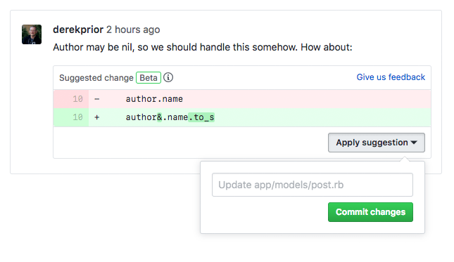A code review comment with a suggested change