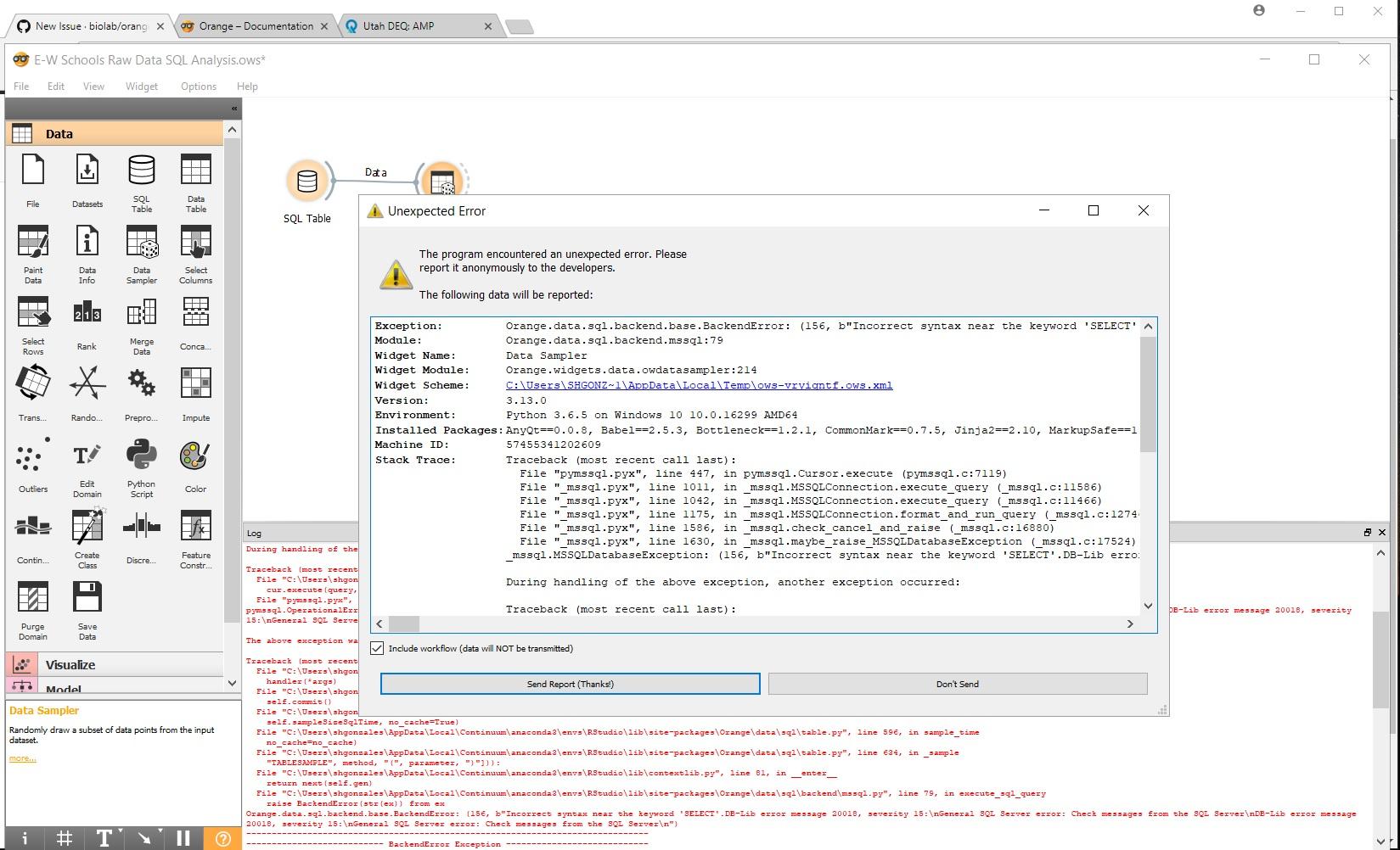 Sql Db Access Error Using Widgets In Orange 3 13 Issue