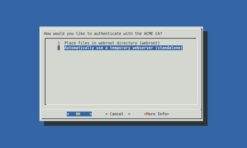 Let's Encrypt 설치 방법 선택