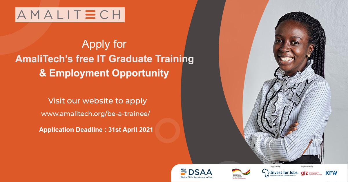 Flier about applying for AmaliTech's Graduate Trainee Programme