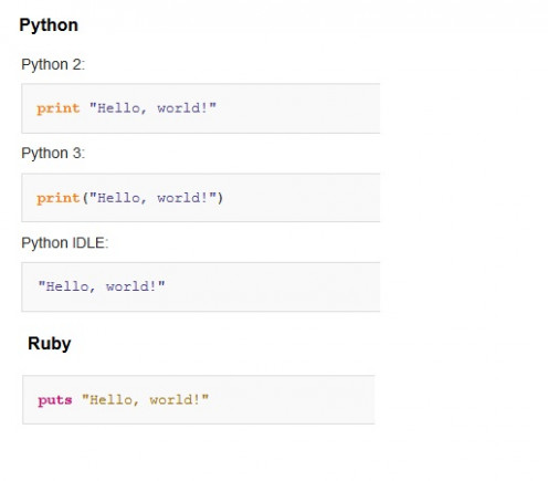 """Hello, world!"" in Python and Ruby"