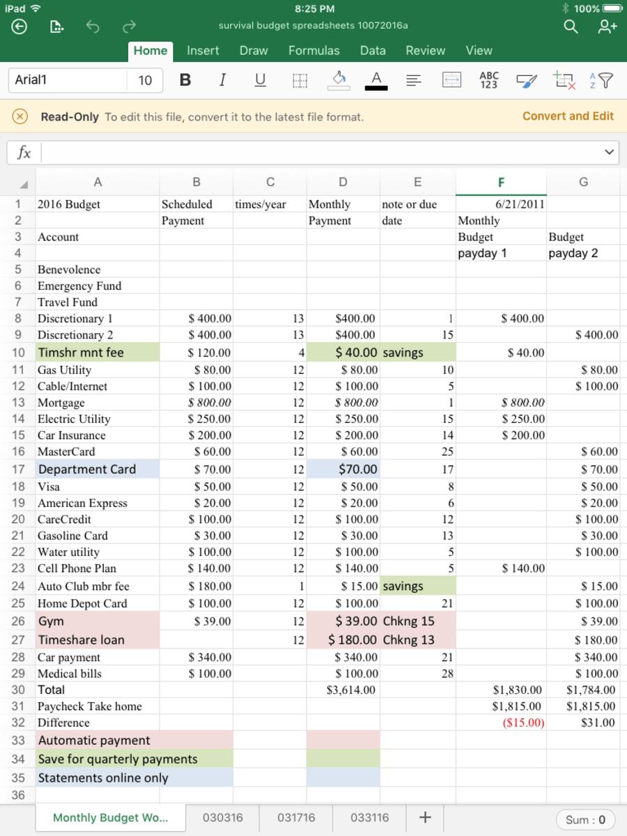 A Survival Budget Spreadsheet