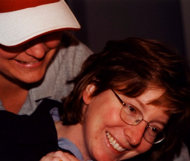 Deb With Her Best Friend Chrissy Rough Housing At A Get Together