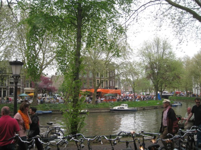 Queen's Day in Utrecht, right outside of the apartment I lived in. You've got to experience Queen's Day in Holland—it's a blast!