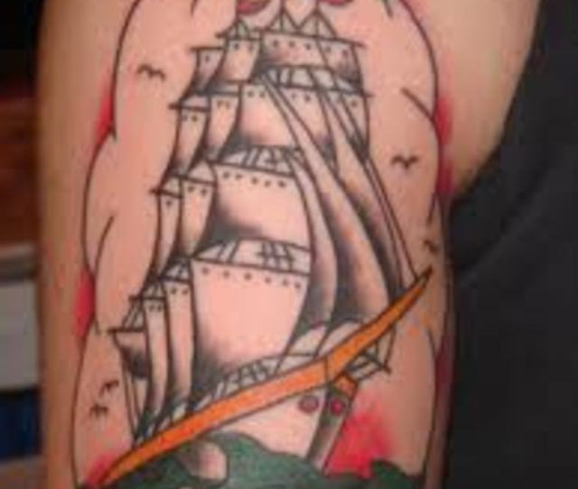 A Compass Can Be Added To A Ship Tattoo To Symbolize Direction Or Faith