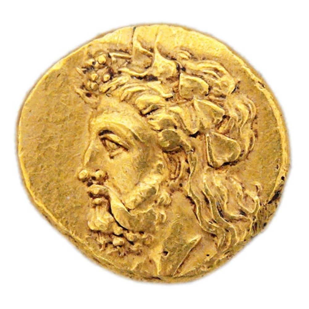 A gold stater from the city of Lampsacus, cIrca 360-340 BC; the coin depicts either Dionysus or Priapos (Priapus) wearing a crown or wreath of ivy leaves from the reproductive stage of the plant