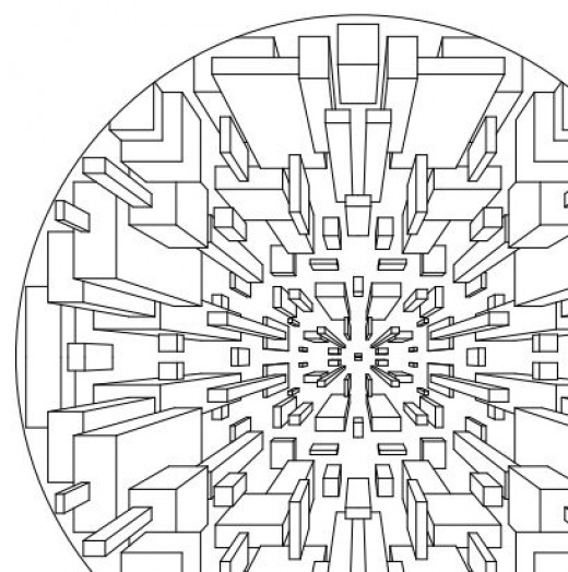this dizzying abstract design 3d coloring page is made from many
