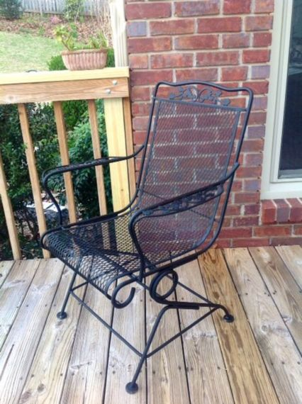 DIY  How to Paint a Vintage  Wrought Iron Chair   Dengarden Repainted wrought iron chair on my deck