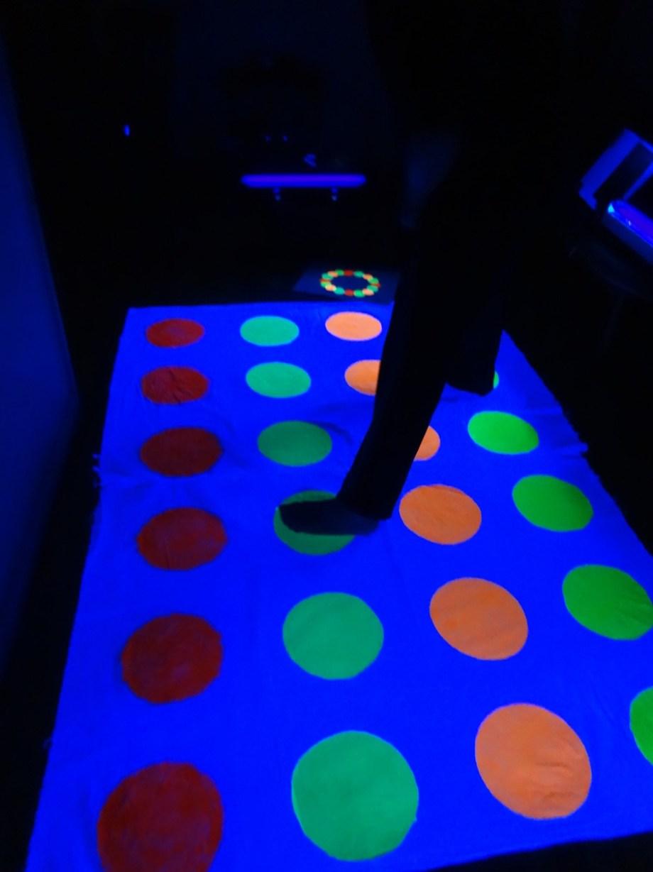 Twister game board glowing
