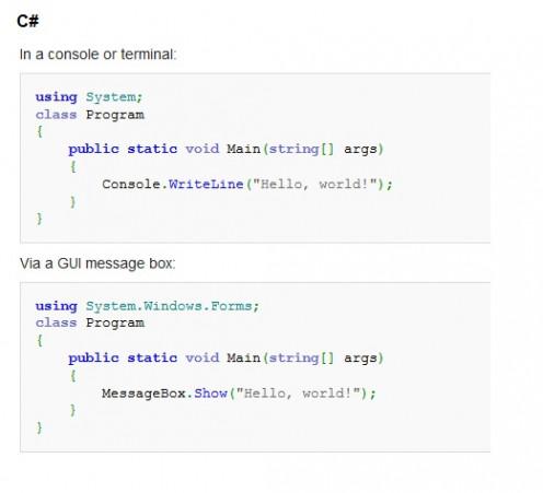 """""""Hello, world!"""" in C#"""