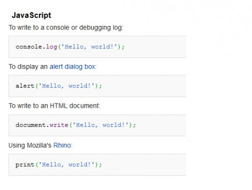 """Hello, world!"" in JavaScript"
