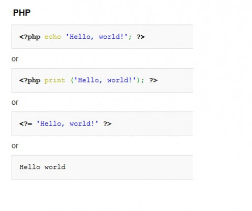 """Hello, world!"" in PHP"