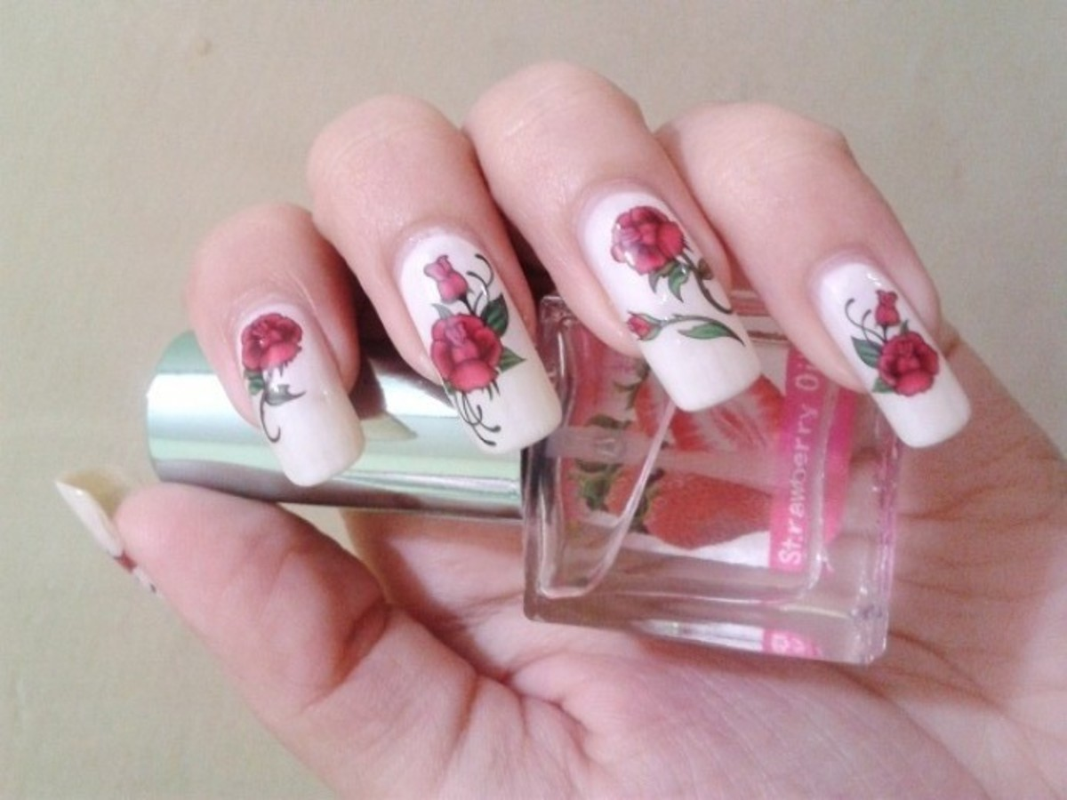Red Rose Water Decal Nails