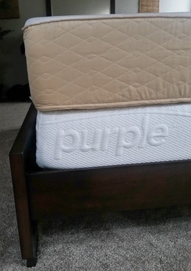 Thickness Comparison Between My Old Memory Foam Mattress Top Against The New Purple