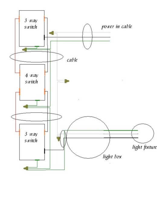 three way switch wiring diagram power at light wiring diagram handymanwire wiring a 3 way or 4 switch ceiling fan 3 way switch wiring diagram