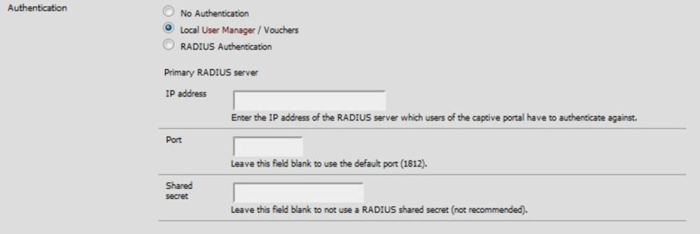 Kimlik doğrulama türü olarak yerel veya RADIUS'u seçin.