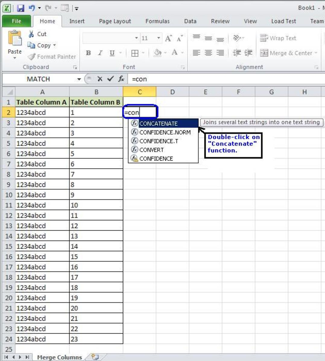 Excel Tutorial How To Combine Multiple Columns Into A