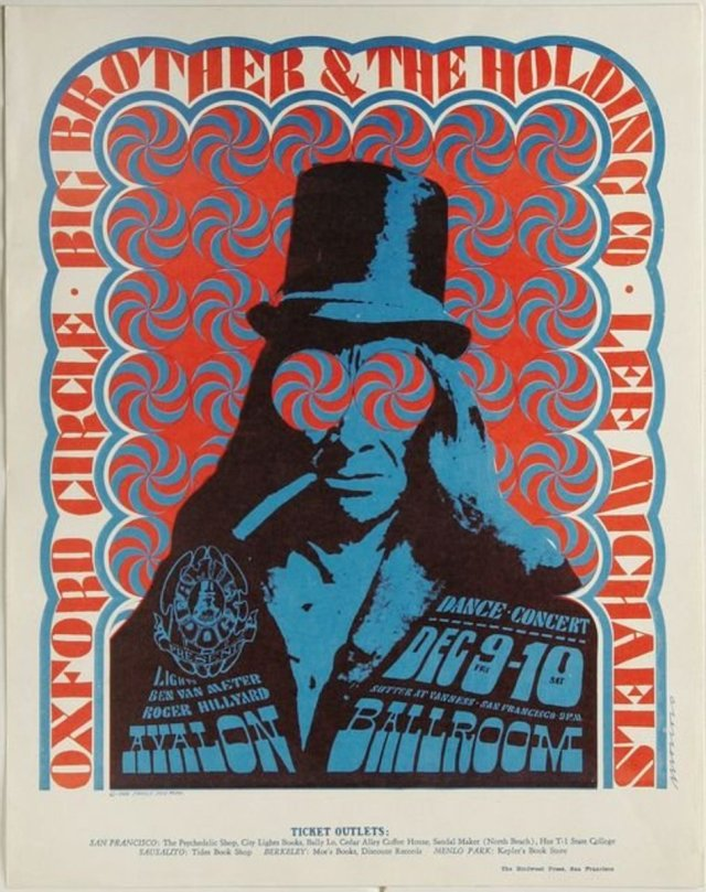 Big Brother and the Holding Company Top Hat Avalon Concert Poster Family Dog 1966 Poster Design Illustration by Victor Moscoso