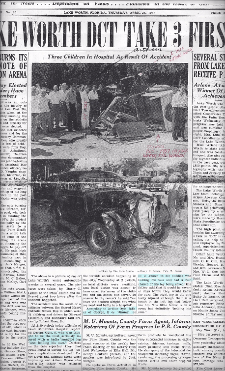 Jim's school bus wreck newspaper clipping April, 1946.