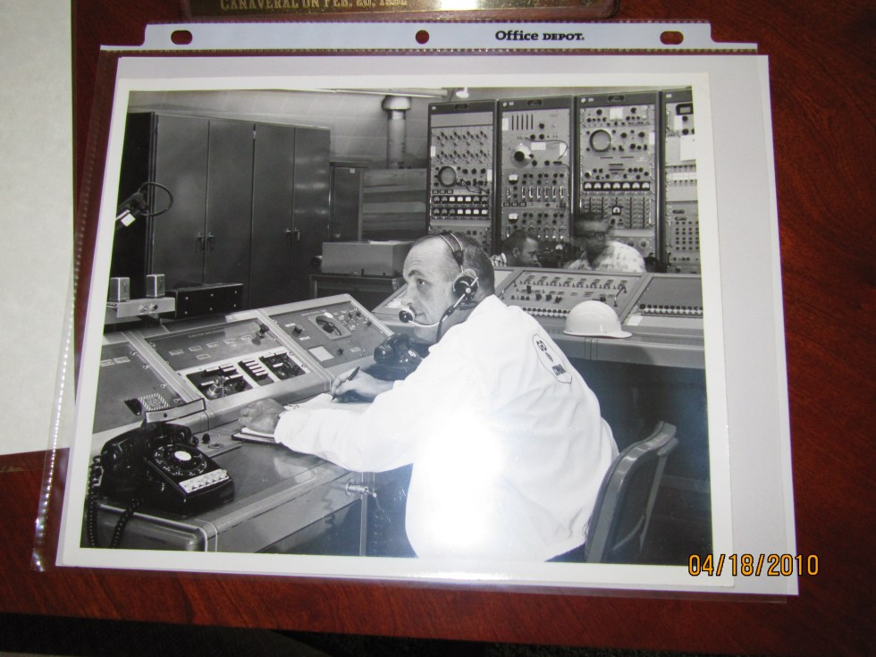 T.J. O'Malley, Test Conductor for the John Glenn launch in Feb. 1962 just before pushing the Engine Start button that launched the first American to orbit the earth.