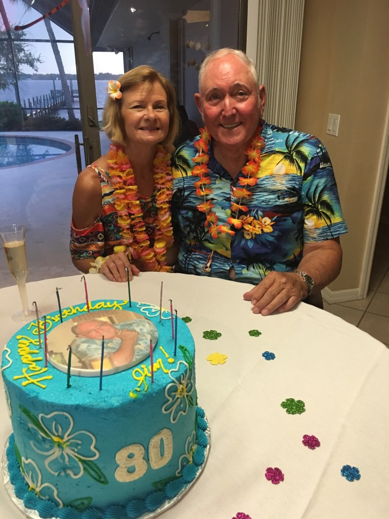 Barbara & Jim on his 80th Bday.