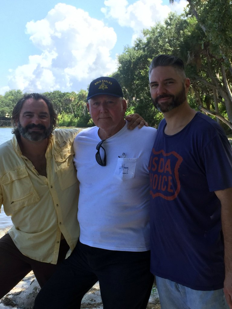 "My big brother James, Pop and me at ""Old #9"" where Jim was wading when he saw the first missile in 1958."