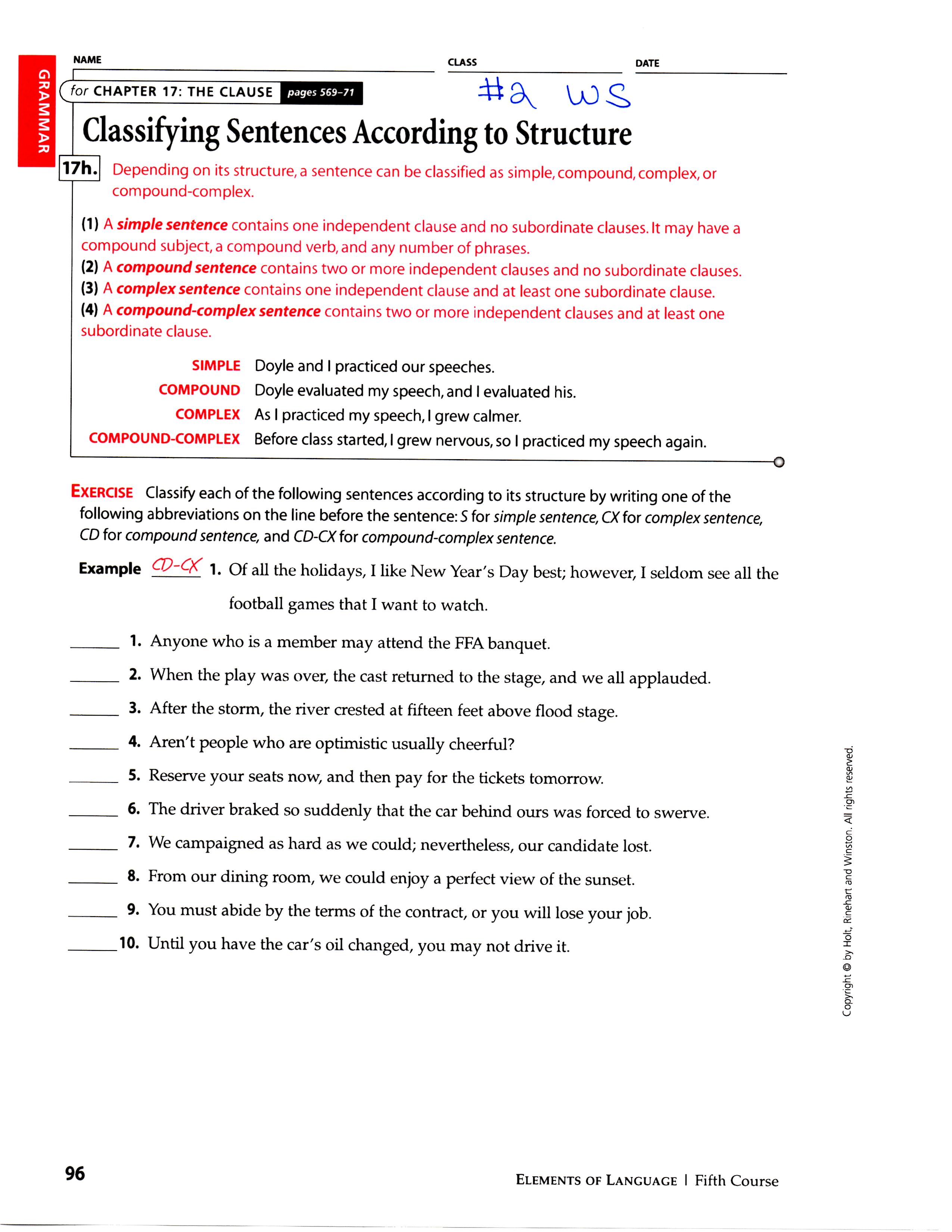 Sentence Structure Review Worksheets