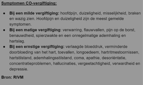 Symptomen CO-vergiftiging