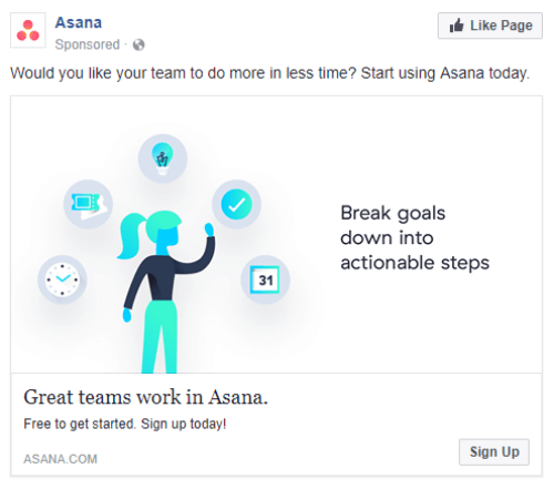 Asana creating powerful Facebook Ad headlines