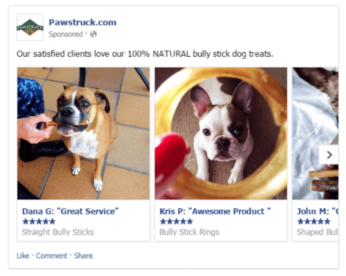 Pawstruck using testimonials with the carousel ad format