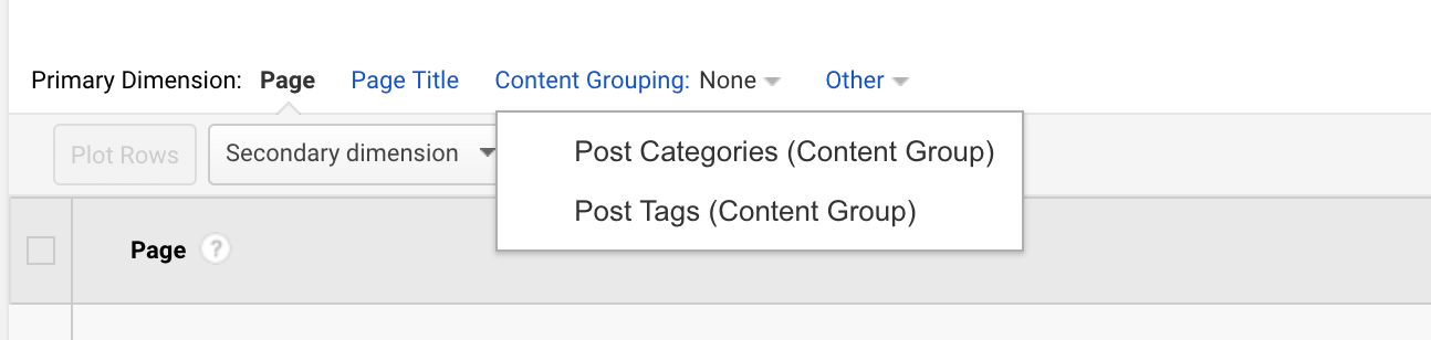 Content Groupings in your All Pages report