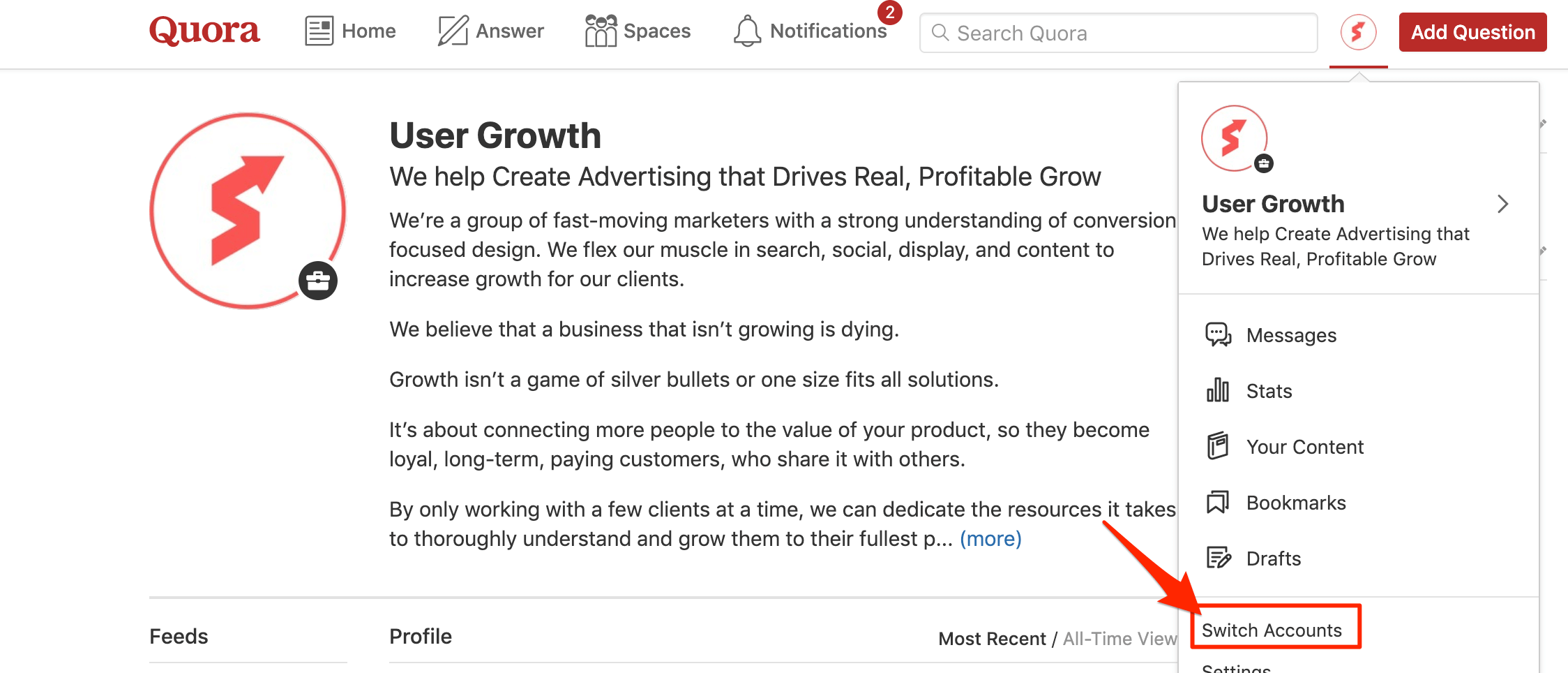 """Switching between your business and personal accounts on Quora using the """"Switch Accounts"""" option"""