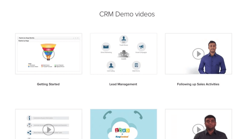 Zoho CRM uses demo videos of how their tool works