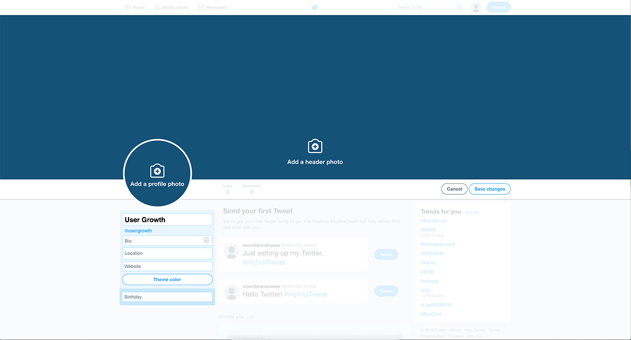 Making your Twitter profile visually appealing by adding a profile and header photo