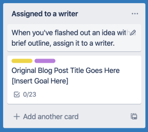Creating a Trello card for a new blog post