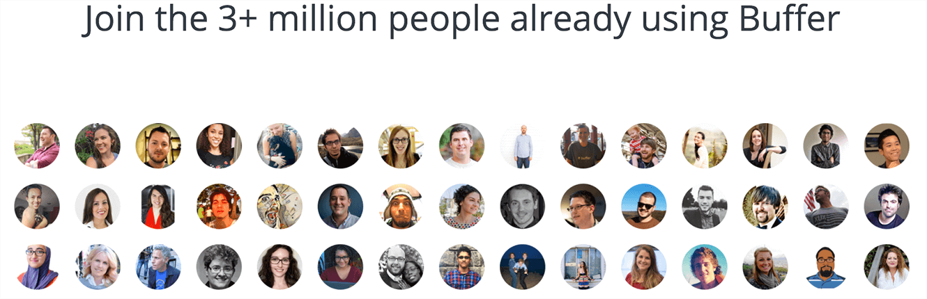 Social Proof in numbers, Buffer is showcasing its three plus million users