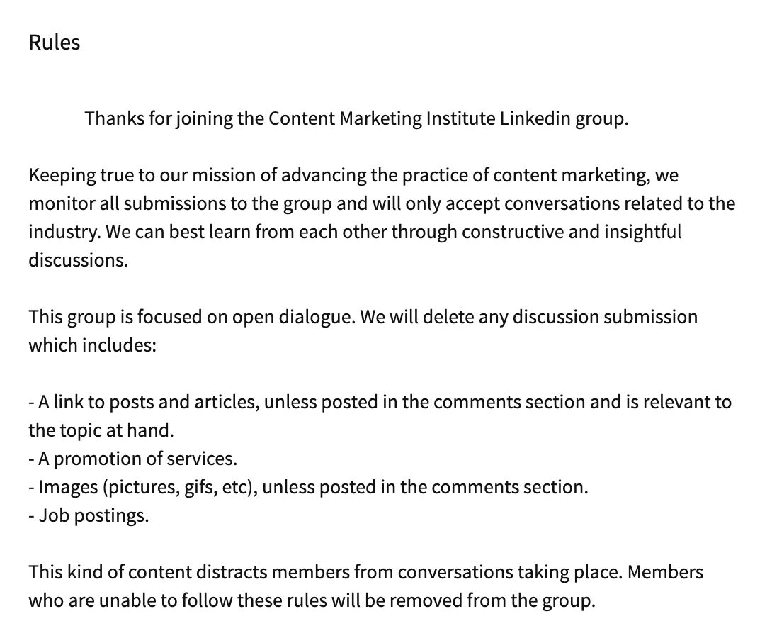 Content marketing institute LinkedIn group rules