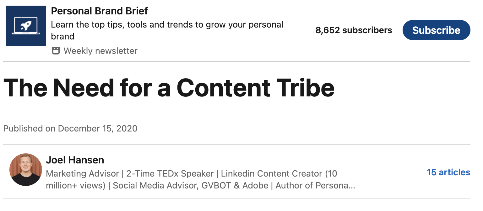 Example of a LinkedIn newsletter