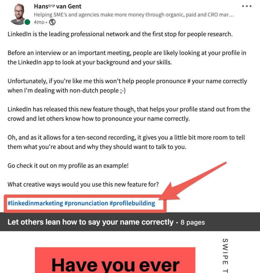 Using hashtags on LinkedIn posts
