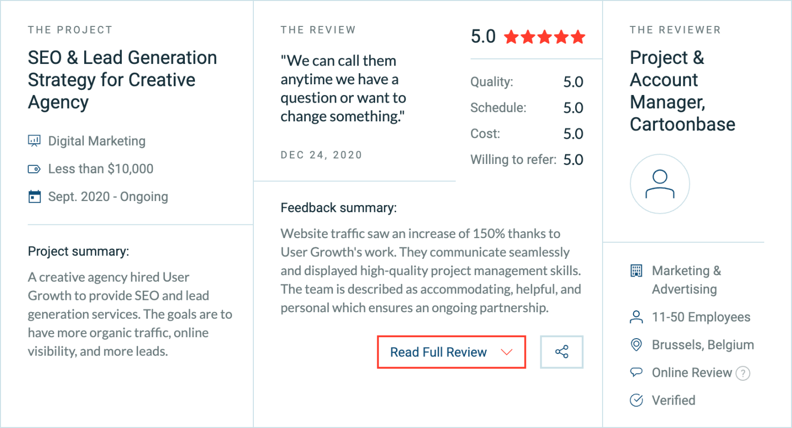 Clutch five star SEO review for User Growth Agency